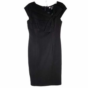 JS Studios black sleeveless sheath dress with bow